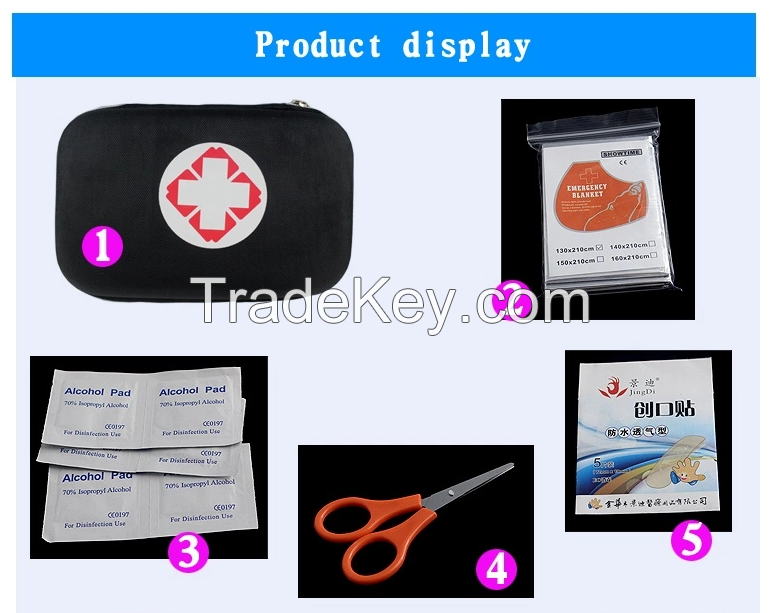 Women'S Fashion Camping Black Military Survival Kit, Hot Sale Cheapest Kit For Gift Custom Logo Outdoor First Aid Kit