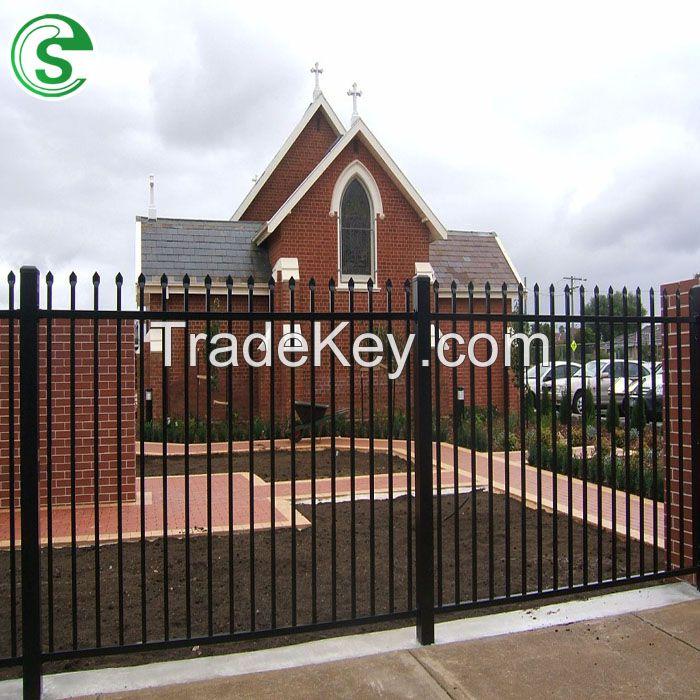 Factory Cheap Powder Coated Black Steel Tubular Security Fence