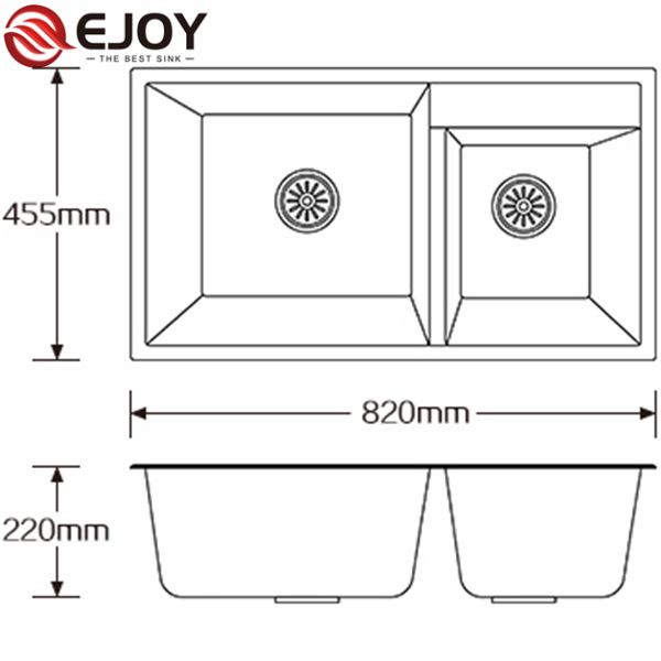 EJOY High Quality Factory sale double bowl composite granite sink with good price quartz sink oem