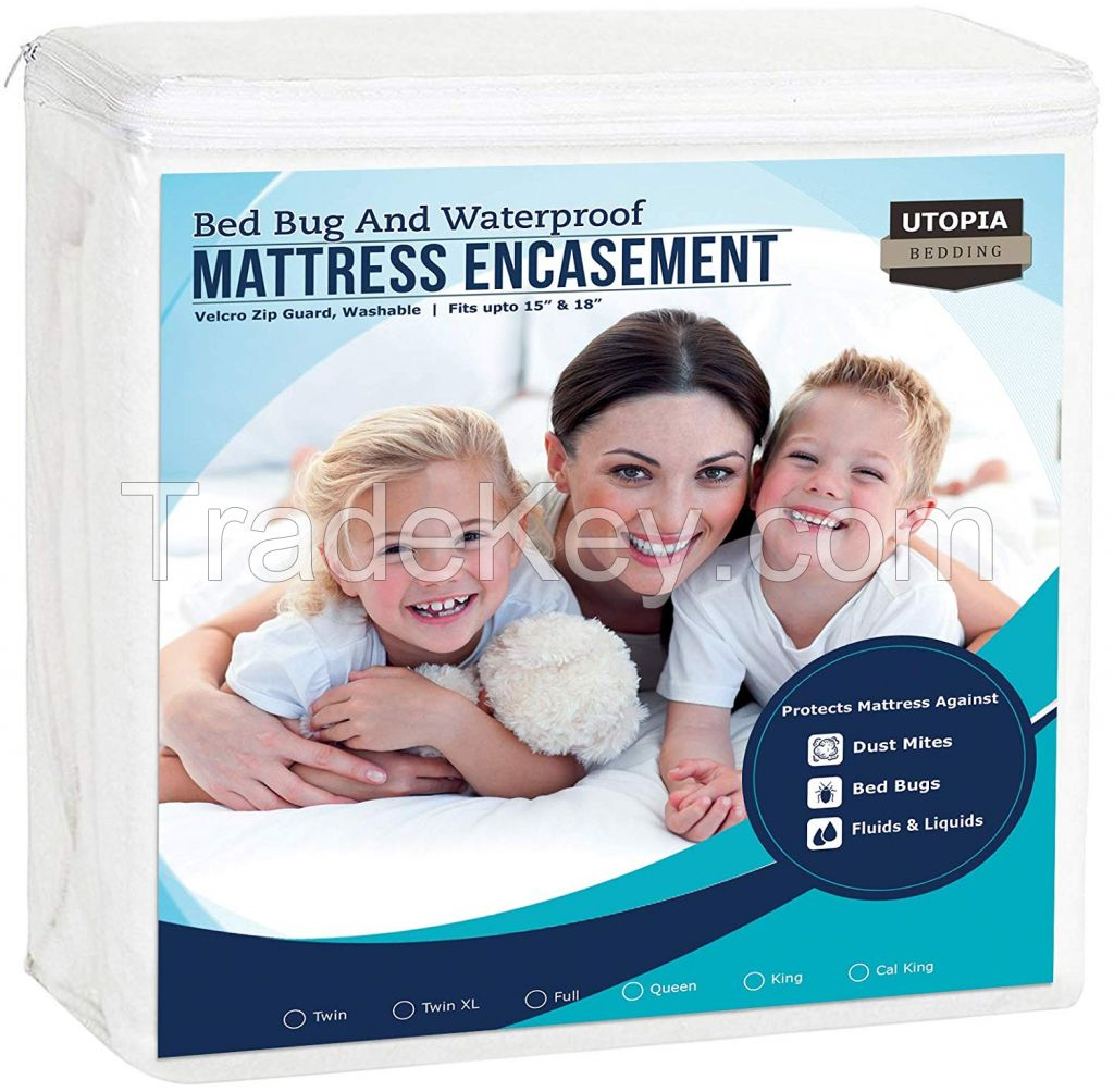 Zippered Mattress Encasement - Bed Bug Proof, Dust Mite Proof Mattress Cover - Waterproof Mattress Protector
