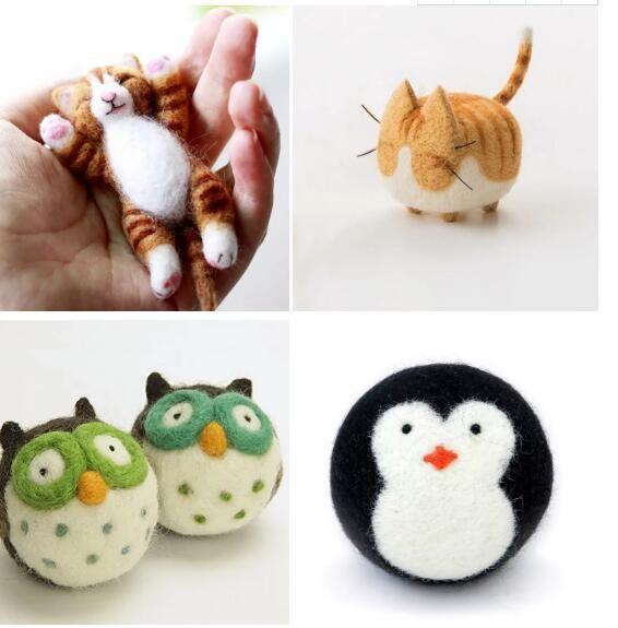 DIY wholesale handmade wool felt animals ornaments decoration needle felted animal toys
