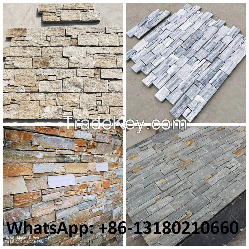 Wholesale price Natural slate culture stone wall panels 600x150mm for wall