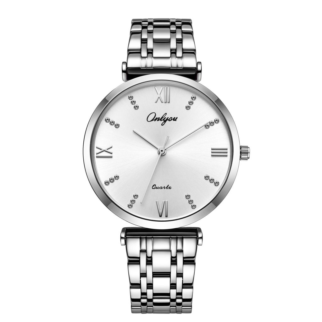 Onlyou 83026 stainless steel band couple watches 3 atm waterproof unisex couple watches.