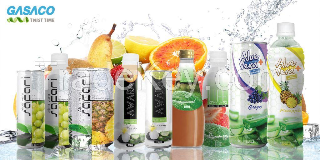 Aloe vera drinks with organic fruit juices