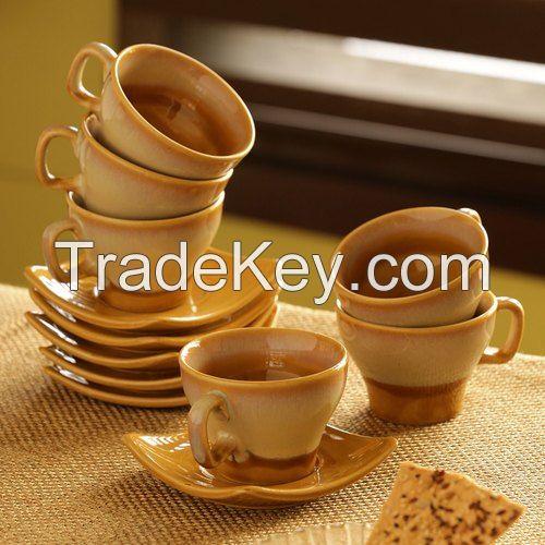 Ceramic Tea Set with Square Saucers