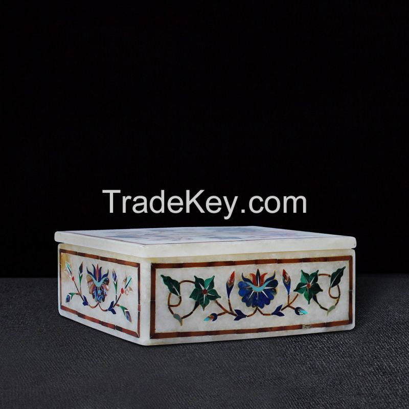 marble gift boxes inlay with semi precious stone