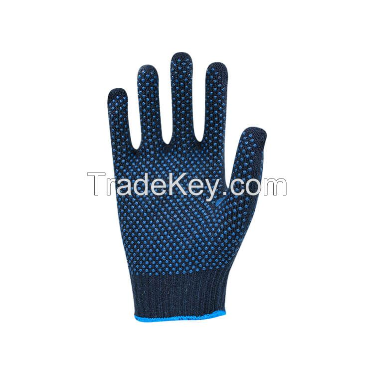 Professional Working Gloves Navy Blue Polycotton Shell Blue PVC Dots Coating Work Safety Gloves Cotton Gloves