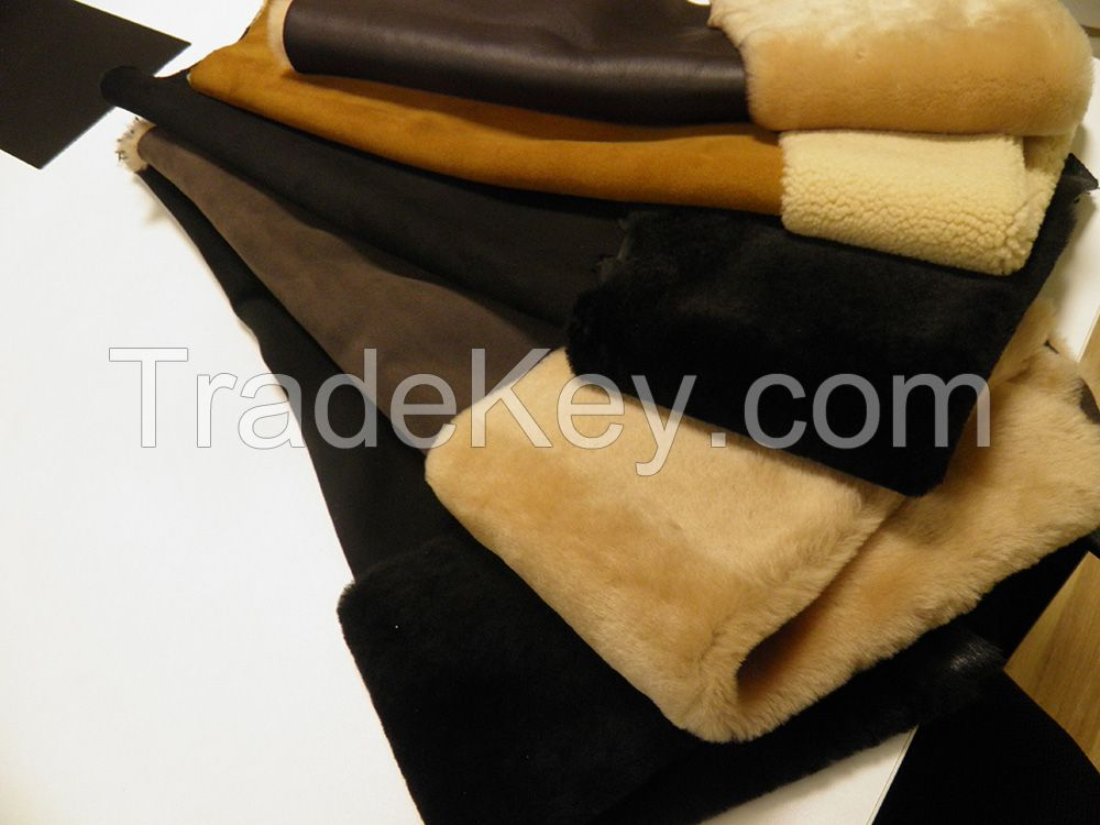 Finished and crust lamb leather