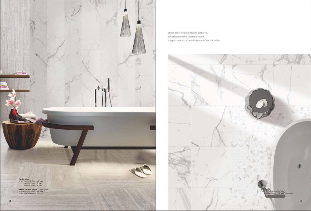 Carrara Polish/Matt Porcelain tile 600x1200mm