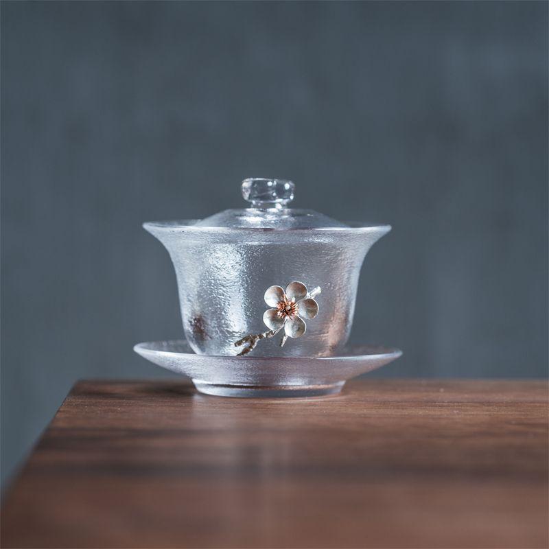Thickened heat-resistant glass sancai gaiwan of gold tin plum cover bowl large with tea bowl mat Kung Fu tea set