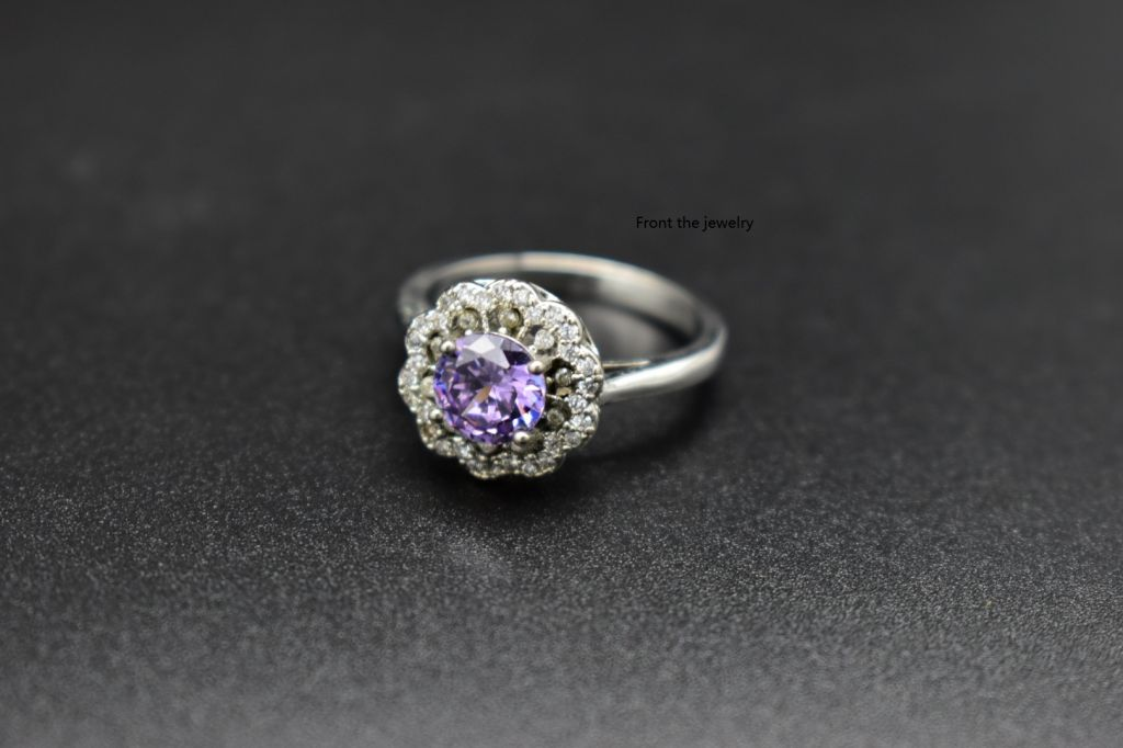 Natural amethyst flower platinum fashion ring for ladies