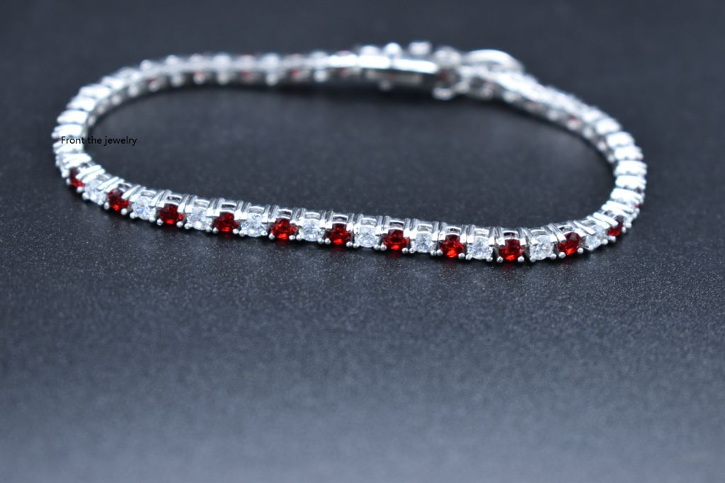 Elegant lady gold-plated hot-selling two-color tennis zircon bracelet
