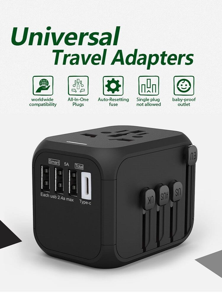 Hot Sale Universal Travel Adapter All-in-one International Power Adapter with 5A type-c 4USB universal travel adaptor