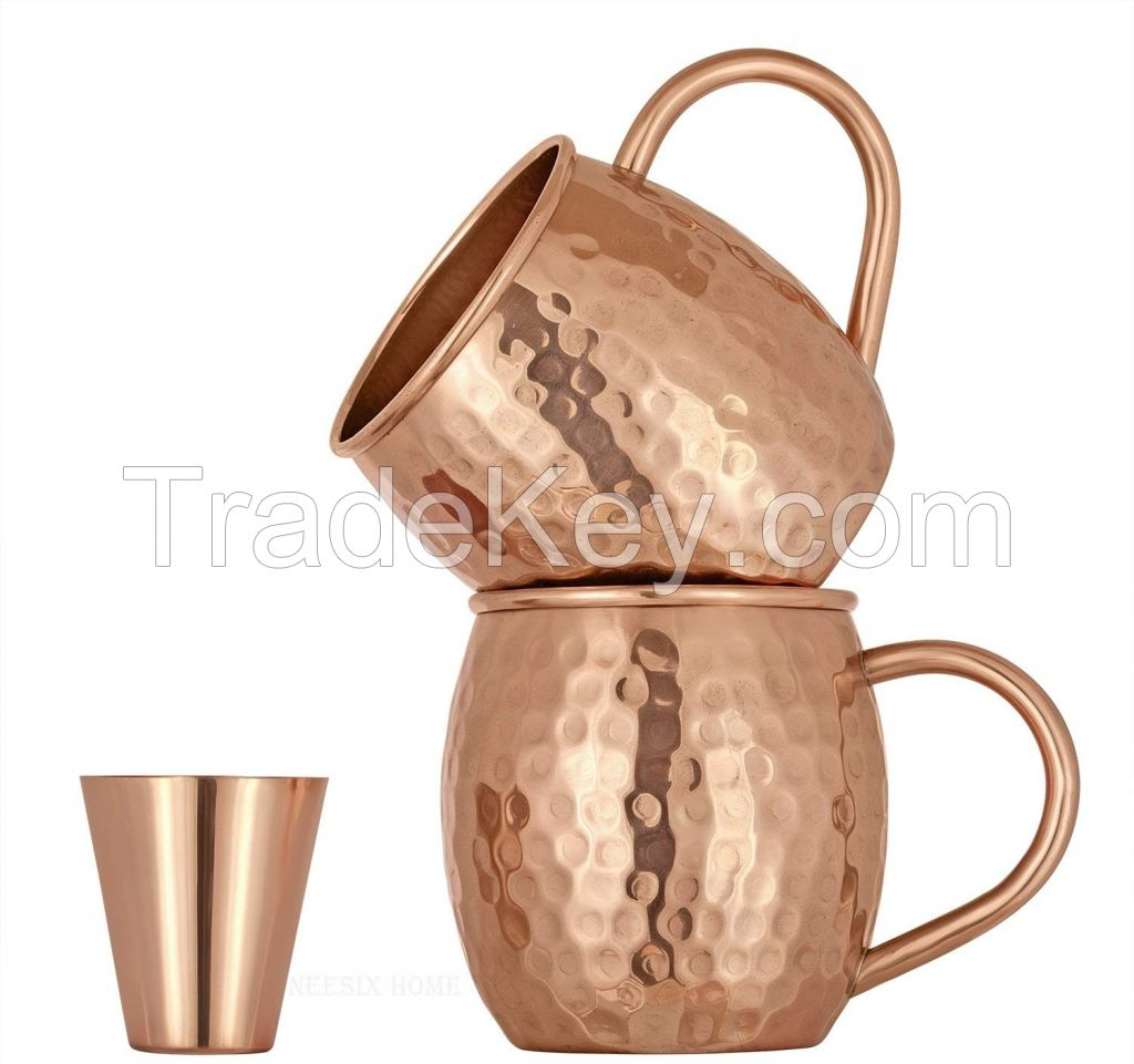 Set of 2 Pure Copper Mugs - 16 Oz with 2 Shot Glasses 2 oz