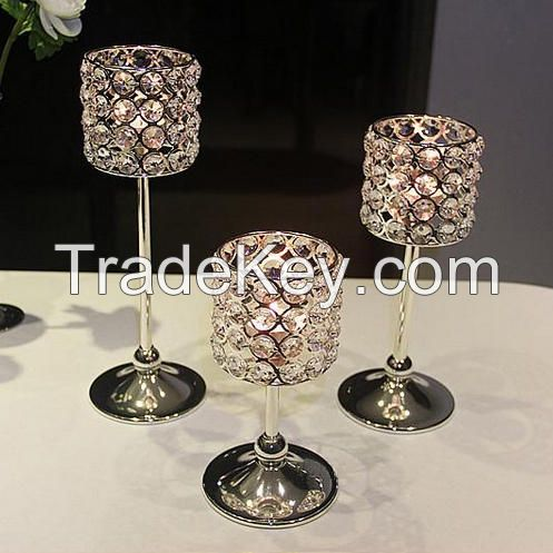 Crystal Candle Holders Set, Tea Light Candlestick for Home Decor