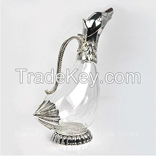 Silver plated finish metal glass decanter