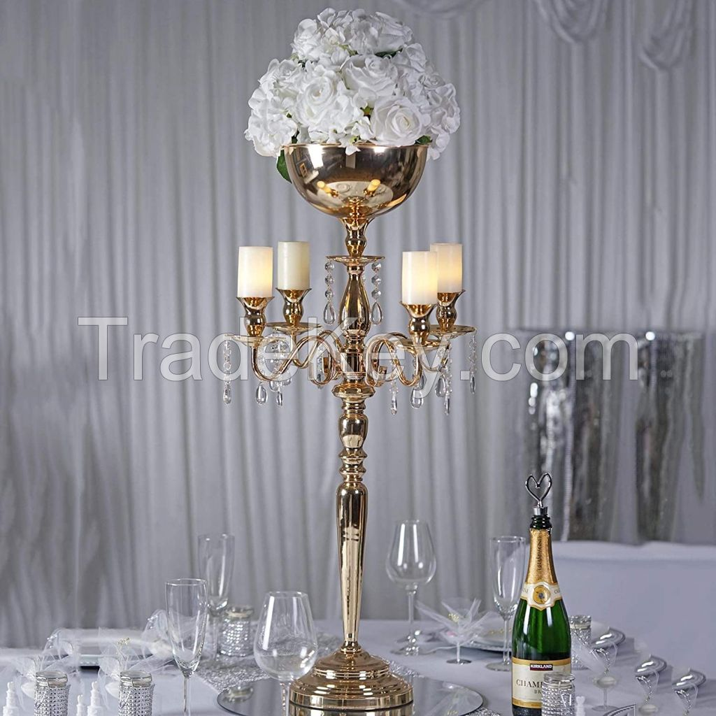 5 arms Candle Holders Metal Candelabras Gold Delicate Candlesticks with Crystal Pendants Wedding