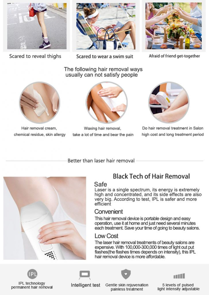 Home use portable IPL hair removal device