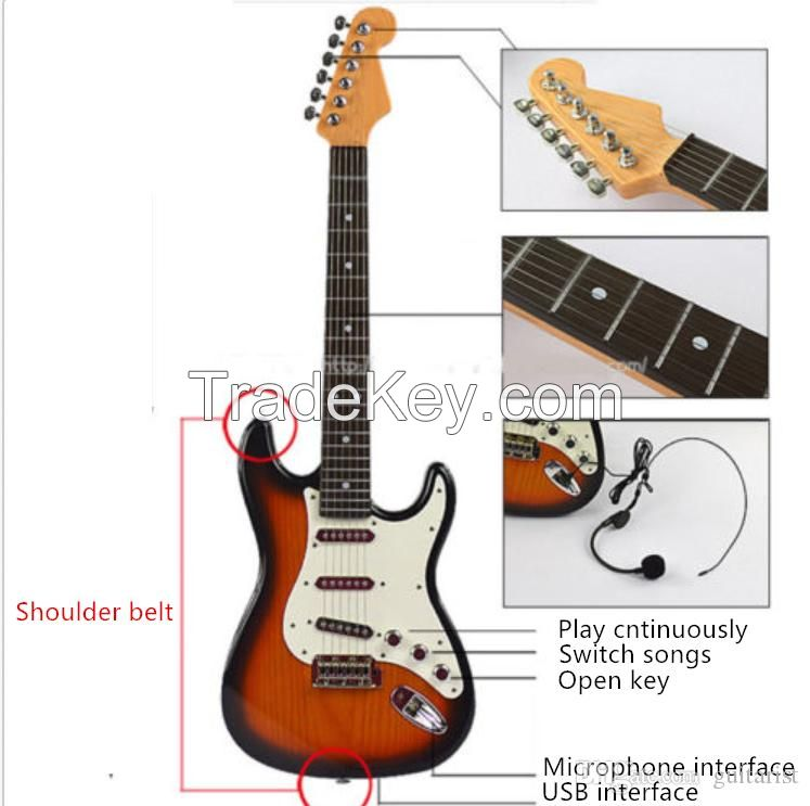 Children's electronic keyboard, Toy Guitar, baby puzzle toy, 3-6 year old electric guitar can connect mobile phone computer