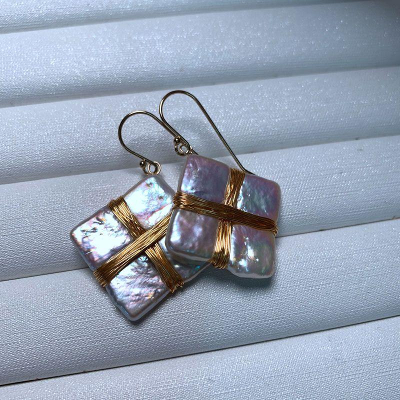 Baroque pearl Drop Earrings Hand woven new 9K GOLD Dangle Studs earring