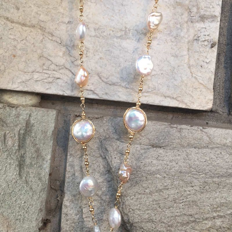 Private Custom Baroque pearl Sweater Chain Hand woven new 9K GOLD WIRE Long Necklace