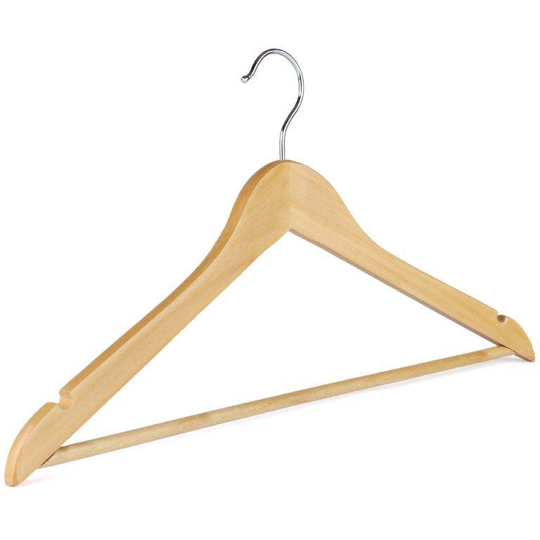 Hot selling wooden hangers with bar for trousers