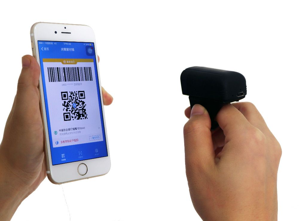 Mini 32Bit Wireless BT Finger Barcode Scanner IOS Android Ring Barcode Scanner
