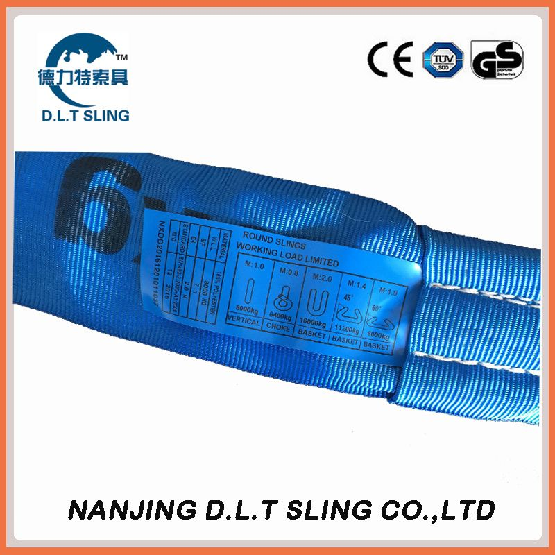8T polyester endless round sling  EN1492-2  CE, GS CERTIFICATE