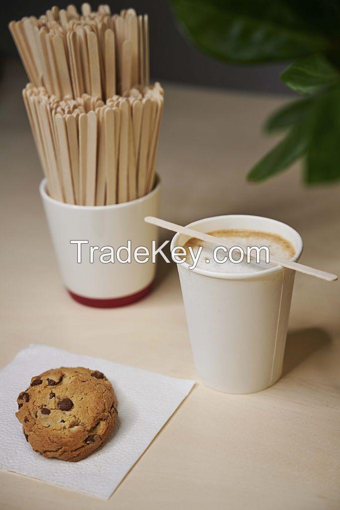 Wooden stirrer for coffee vending