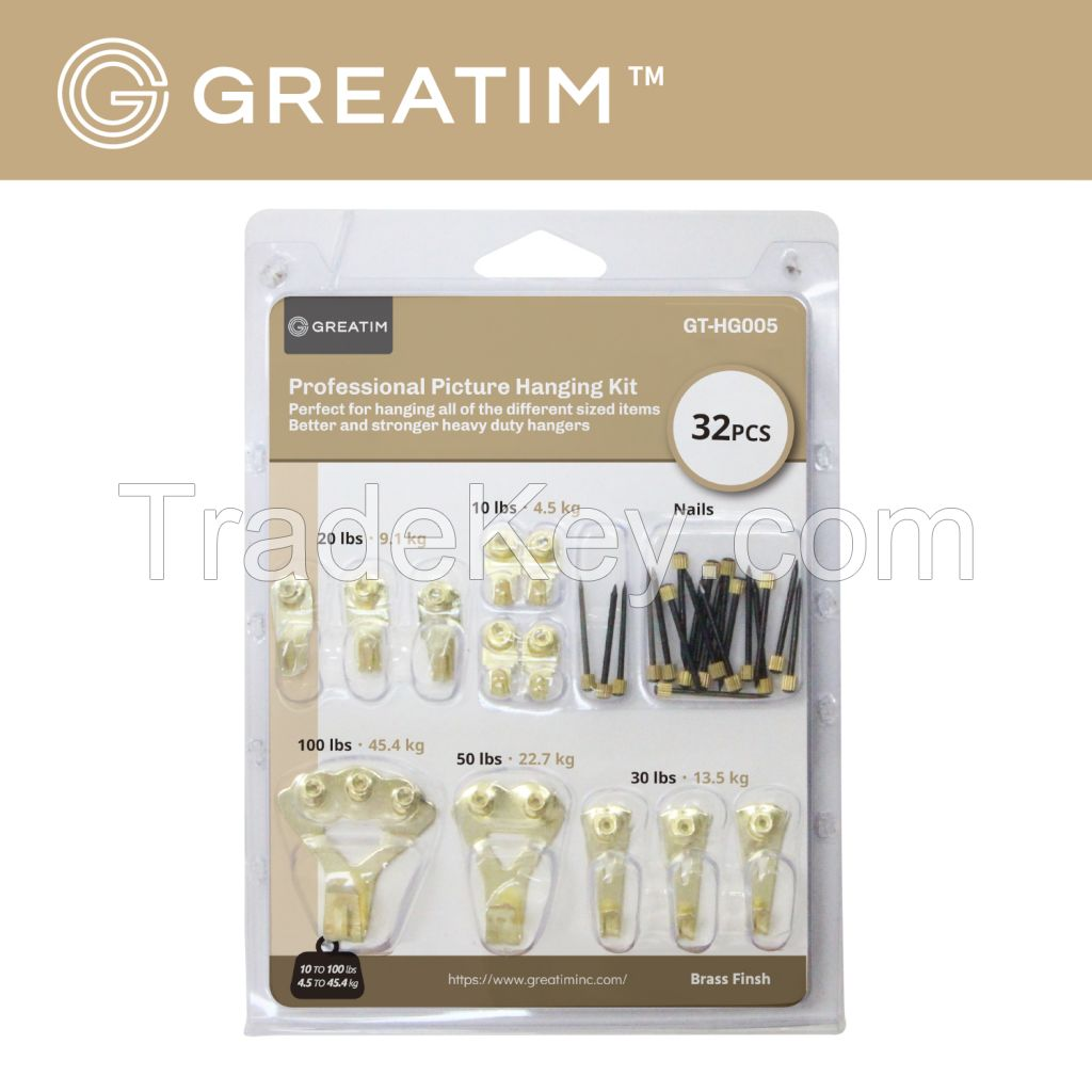 Greatim GT-HG005, Professional Picture Hanging Kit, 32pcs, Steel/Brass