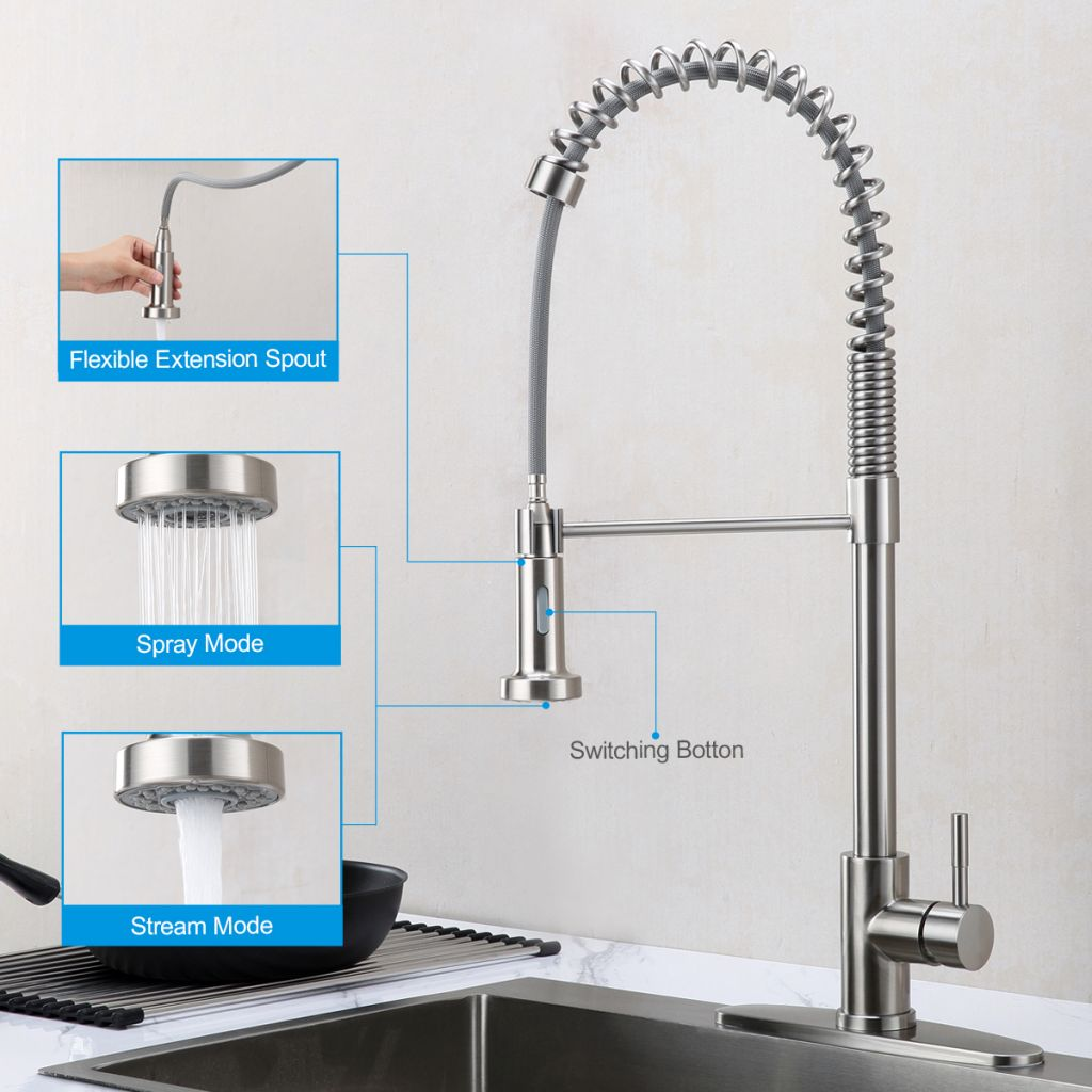 Hot sale in Amazon-Spring high arc kitchen sink faucet with pull down sprayer-Brushed Nichel