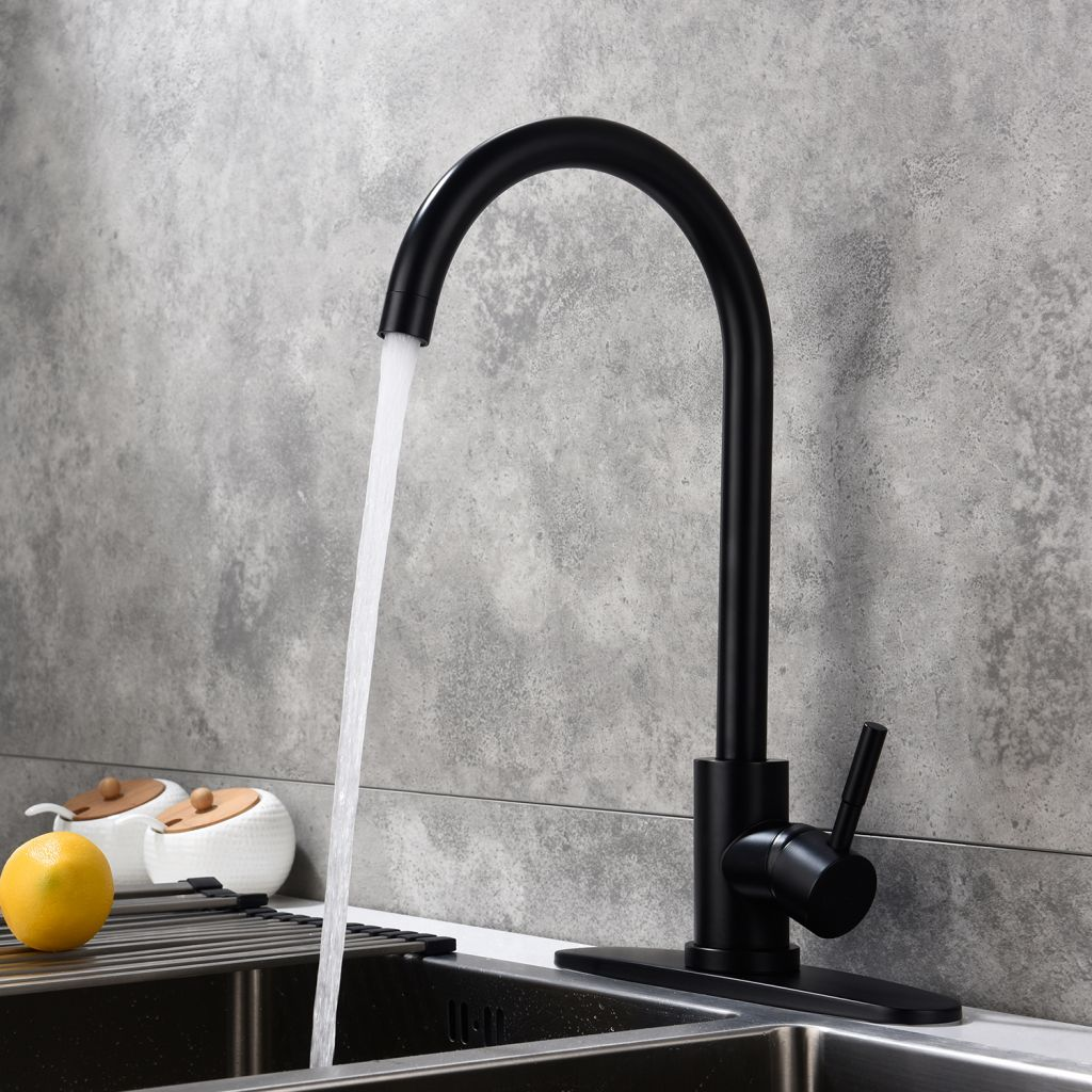 Classic High Arc Single Handle Stainless Steel Kitchen Sink Faucet-Matte Black