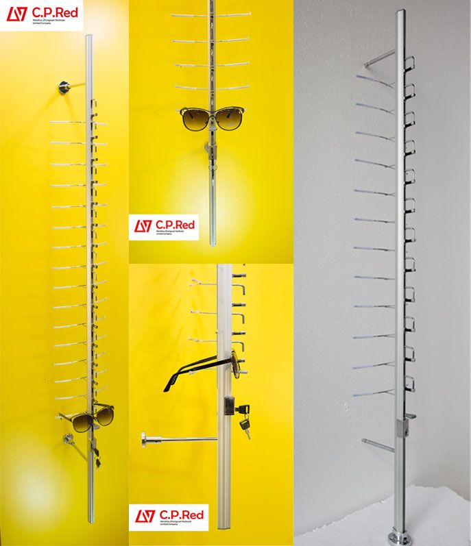 eyewear store wall mount eyewear display sunglasses eyeglasses display cabinet stand rack rods with lock