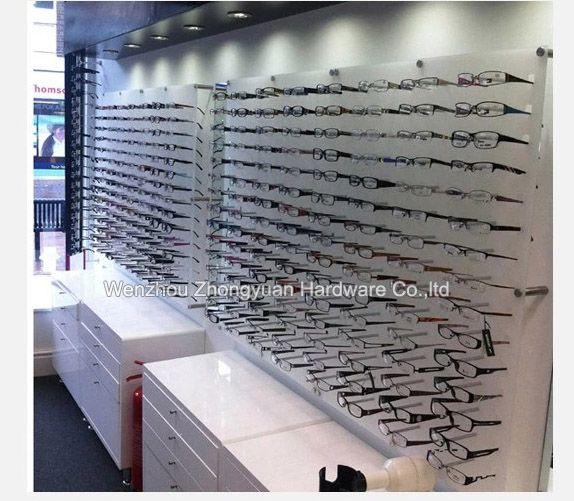New design wall mounted eyewear eye glasses sunglasses display hook acrylic panel