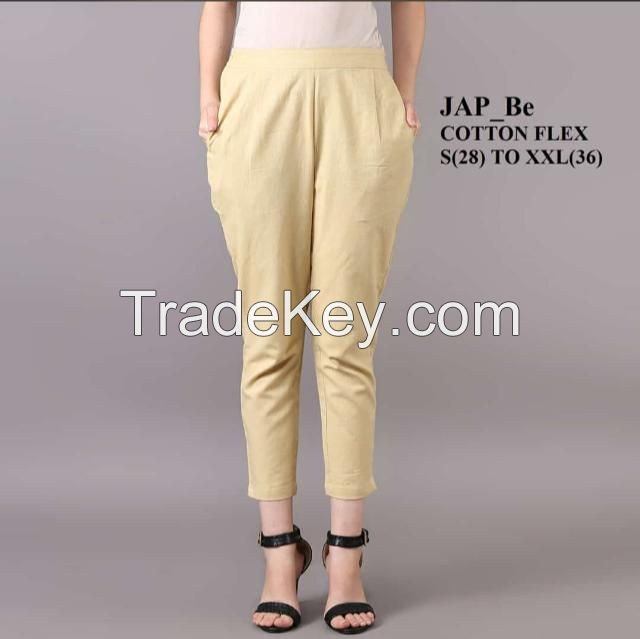 Custom Solid Cotton flex Trousers for Women Clothing women pants