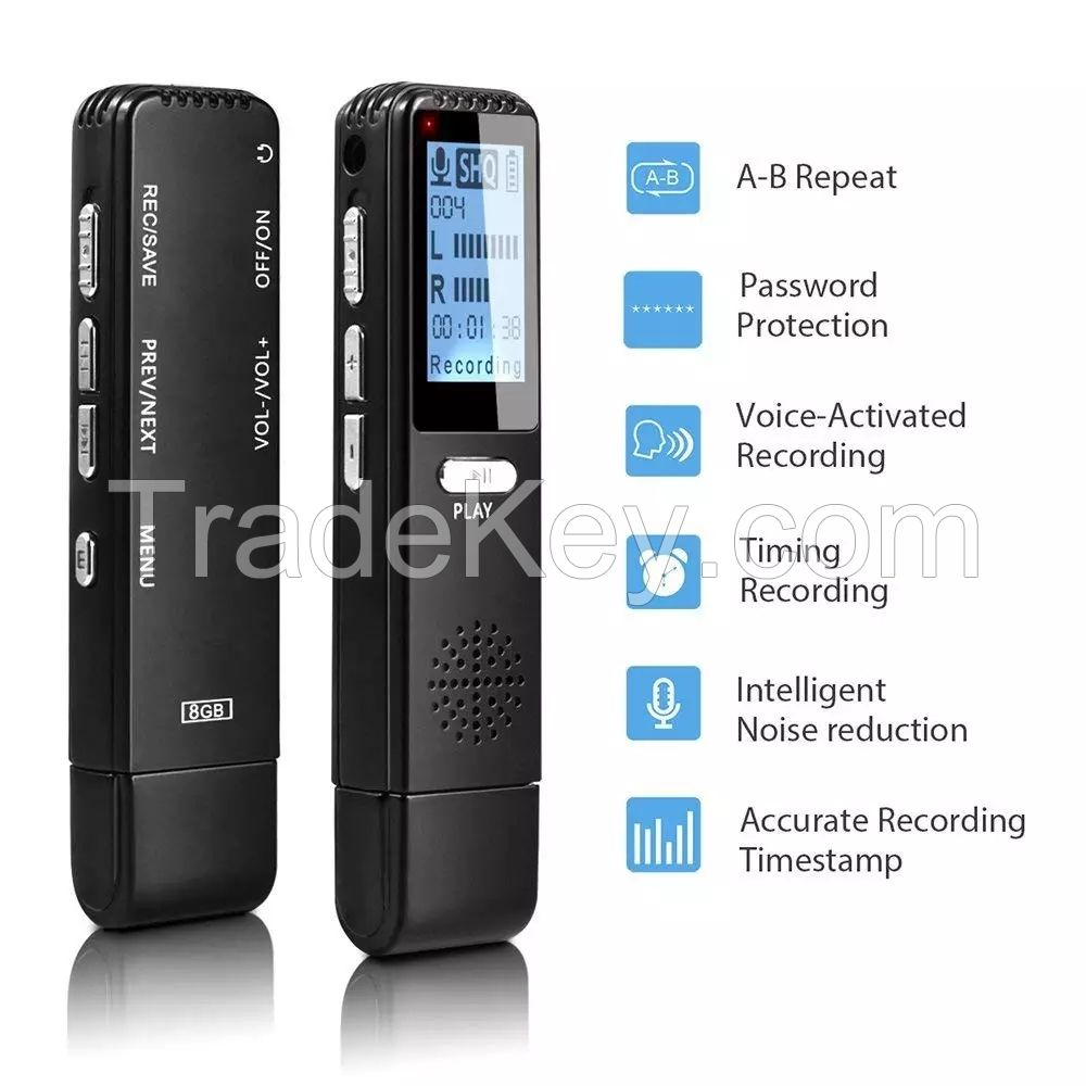 V25 8GB/16GB/32GB Digital Voice Activated Recorder HD Recording Of Lectures And Meetings With Microphone, Noise Reduction Audio, High Quality Sound, Portable Mini dictaphone voice recorder