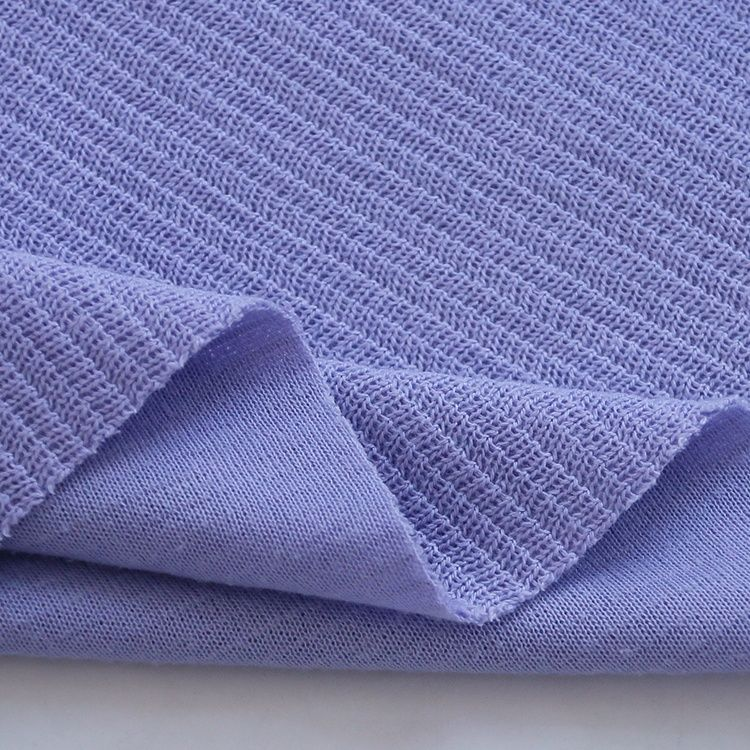9211# Plain dyed 6%R 26%C 65%T 3%SP wave knit rib fabric with jacquard