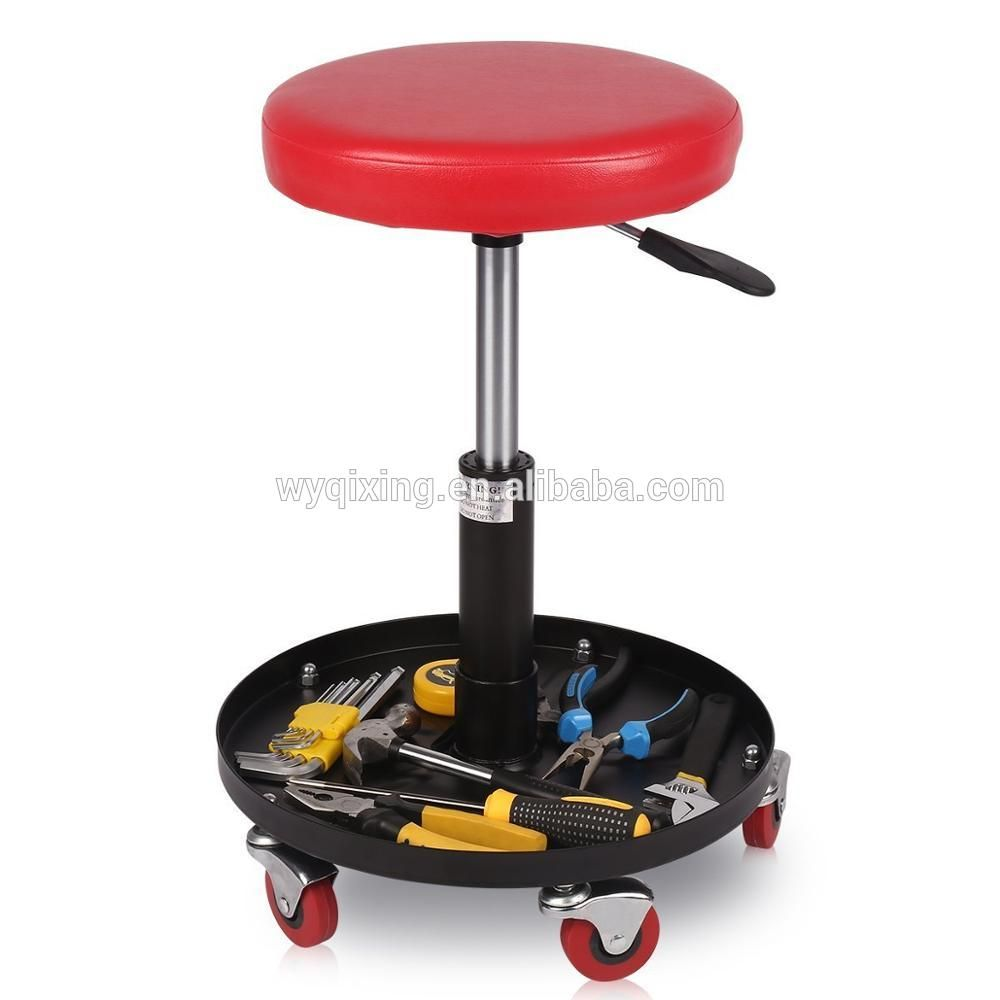 Mechanics Creeper Seat Round Rolling Stool Height Adjustable Chair Garage Capacity Up to 265LB/120KG Repair Tool for Vehicle At-