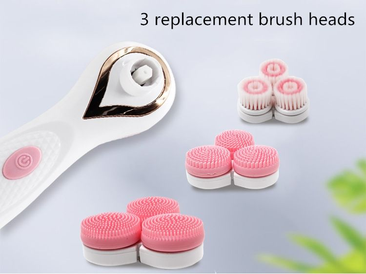 3 in1 Powered Sonic facial brush 3 Wheels Rotating head Waterproof pore cleaning AE-878 Spa massager