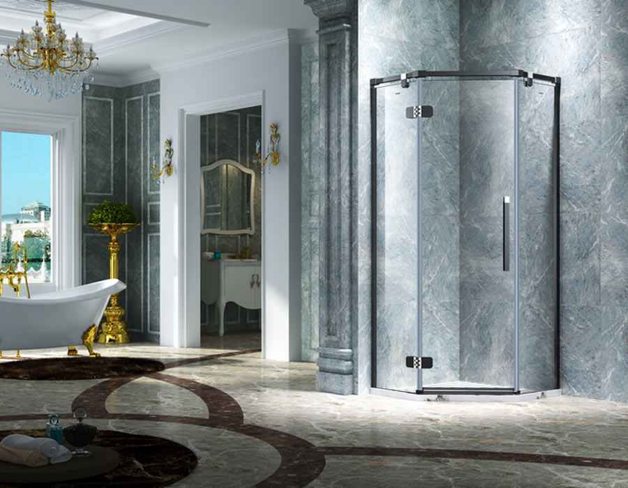 Elegant Design Semi Frameless Diamond Shape Shower Enclosure With Pivot Door, AB 3231-1