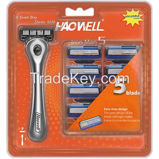 High quality stainless steel sharp 5 blade shaving razor set