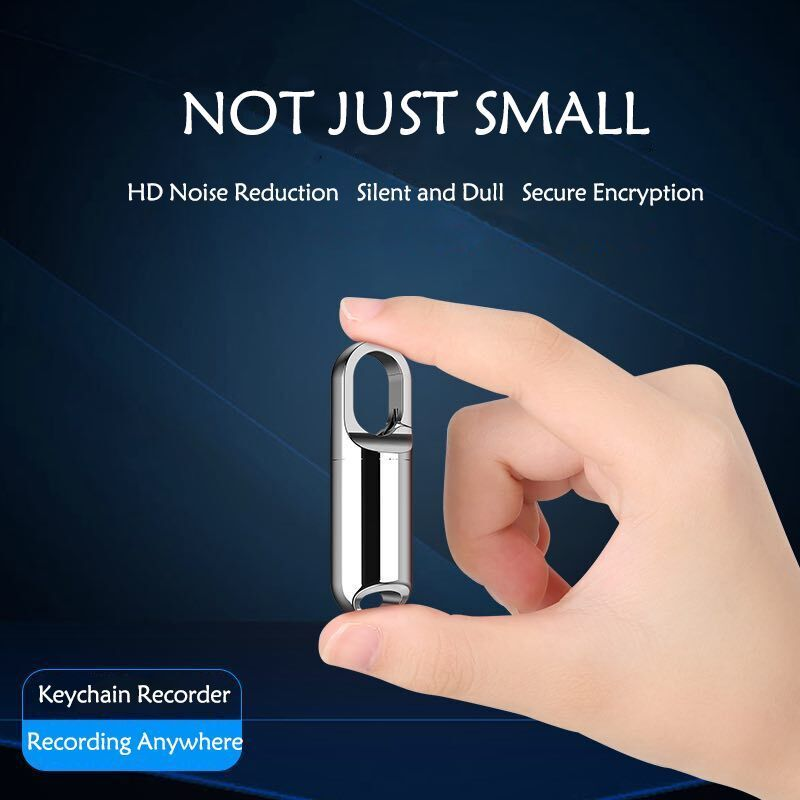 Mini Keychain Voice Recorder, 8GB USB Audio Voice Recorder, Rechargeable Metal Casing Digital Voice Recorder (Silver)