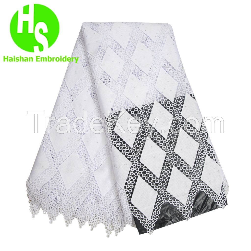 High Quality nigerian Wedding African Lace Fabric Cotton Lace Guipure Cord Lace Fabric for Wedding Party