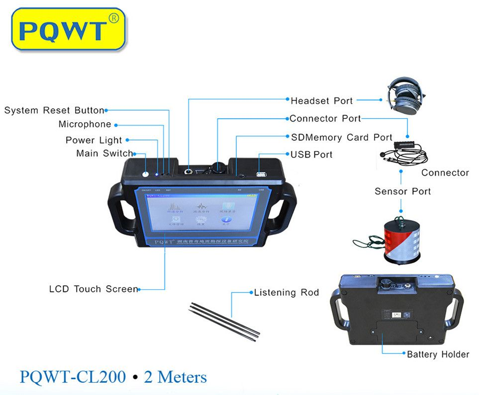 2M  Pipe Water Leak Detector PQWT-CL200