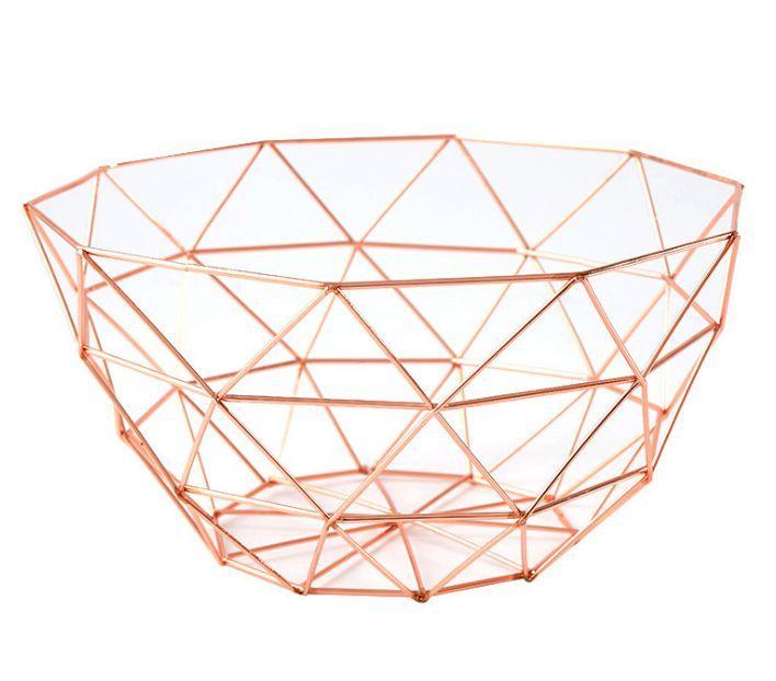 Creative Rose Gold Metal Wire Fruit Bowl Storage Basket