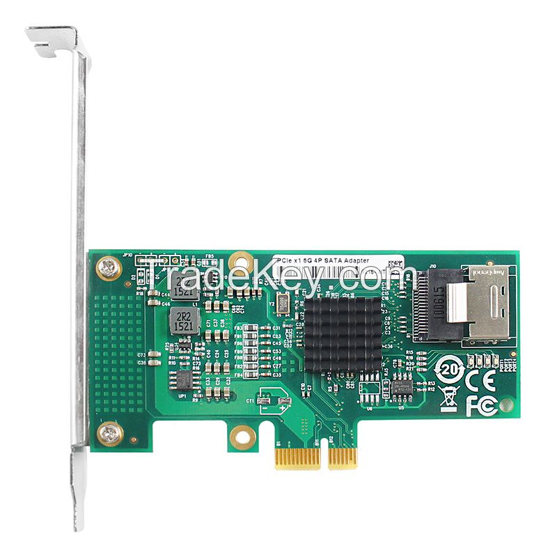 Linkreal One-Lane PCIe 2.0 to 4-Port SATA 3.0 Expansion Card 6Gbps Marvell chips 88SE9215
