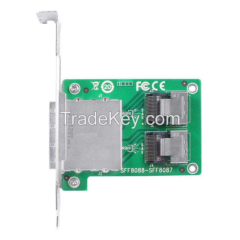 Linkreal Dual Mini SAS SFF-8088 to SFF-8087 Adapter in PCI Card Bracket