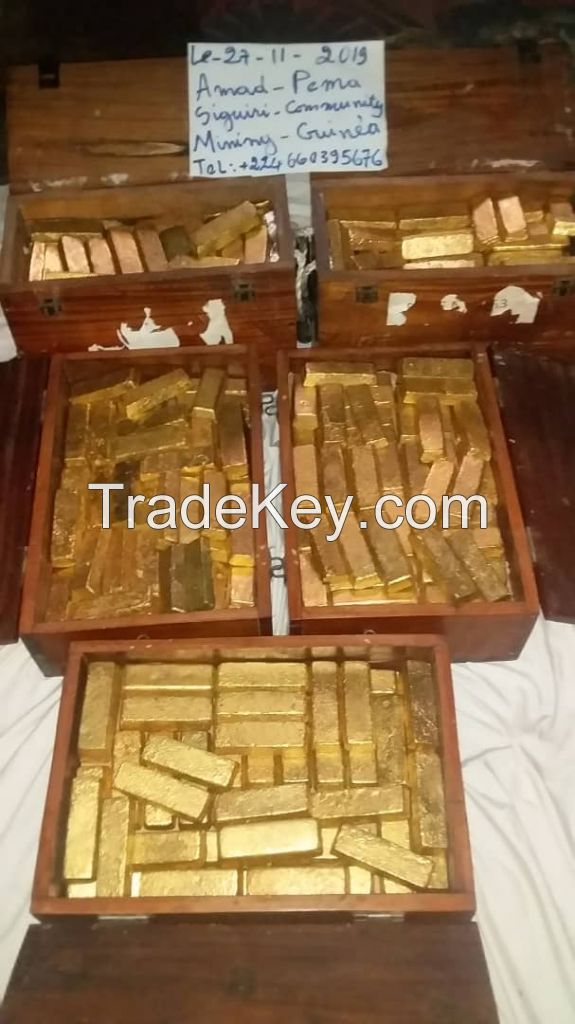 Gold bars and diamonds