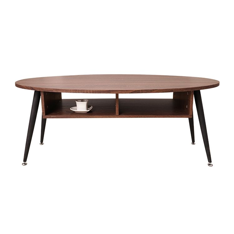 Wood oval table top elegant multi-functional coffee table with iron legs