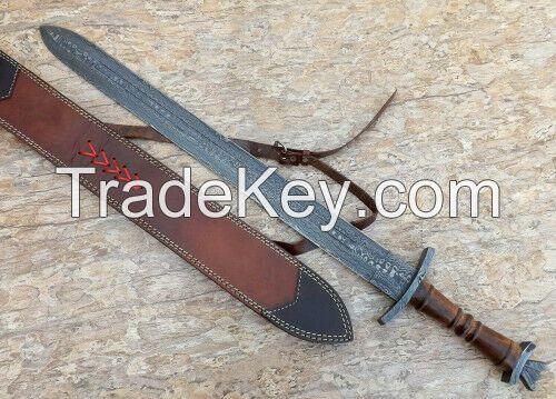 Damascus Steel Knife Handmade -30 Inches Rose Wood Handle Viking Sword
